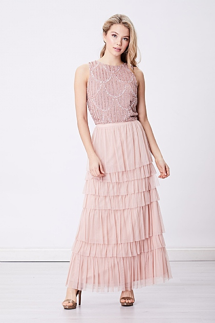 Rose Pink Layered Tule Mesh Maxi Skirt