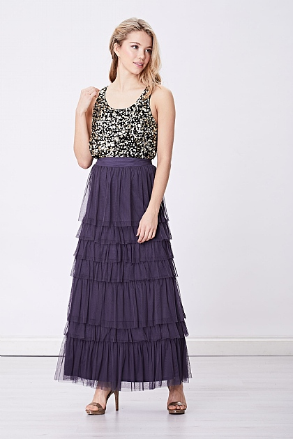 Charcoal Layered Tule Mesh Maxi Skirt
