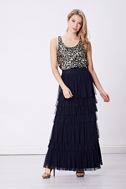 Navy Layered Tule Mesh Maxi Skirt