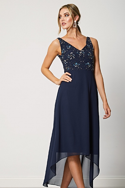 Navy Embellished High-low Midi Dress