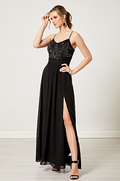 Black Embellished Cami Maxi Dress