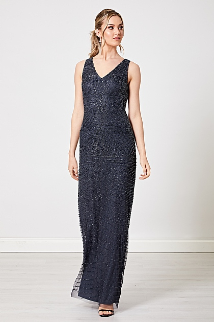 Navy Embellished Sequin Backless Maxi Dress