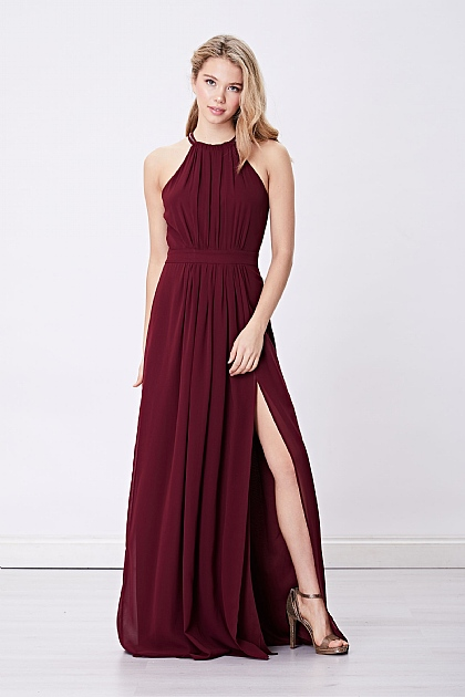 Burgundy Halterneck Maxi Dress