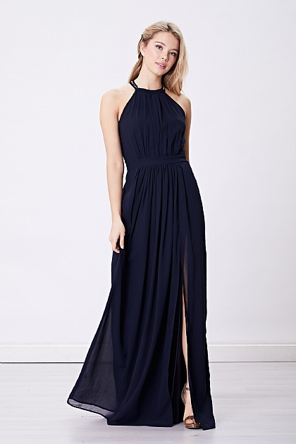 Navy Halterneck Maxi Dress