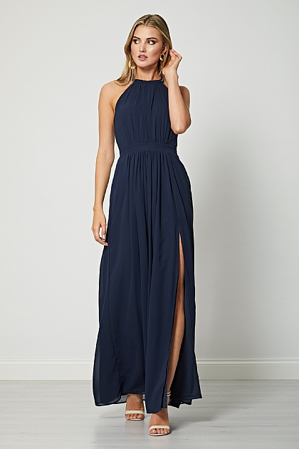 Navy Blue Halterneck Maxi Dress