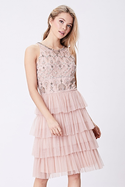 Pink Embellished Layered Tulle Mini Dress