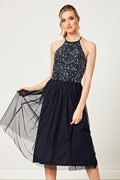 Navy Detail Embellished Halterneck Midi Dress