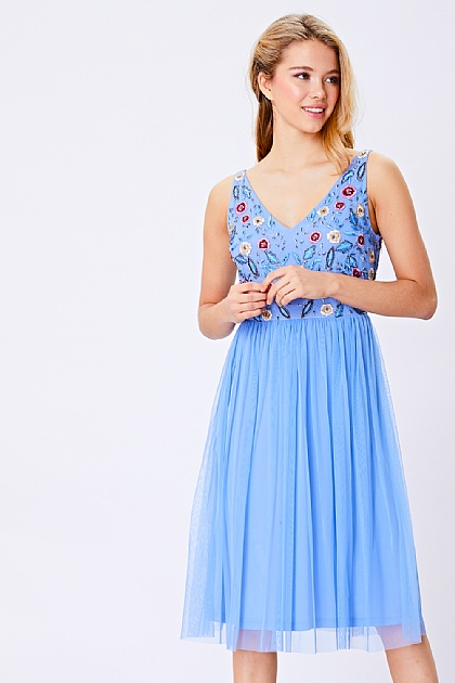 Aqua Blue Embellished Strappy Midi Dress