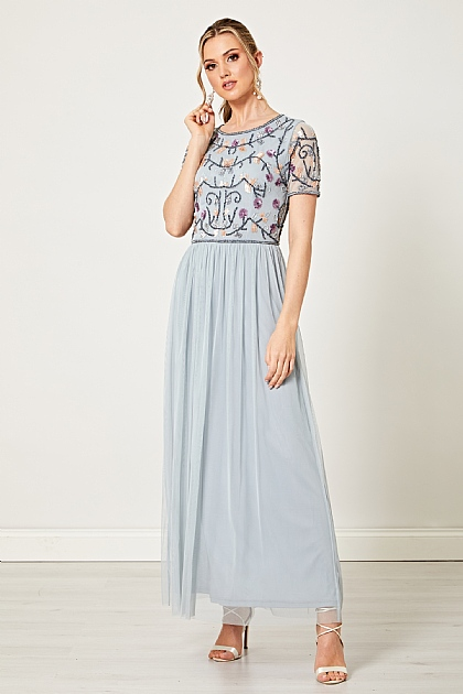 Heather Blue Embellished Maxi Dress
