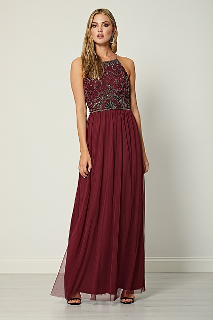 Burgundy Embellished Sequin Halterneck Maxi Dress
