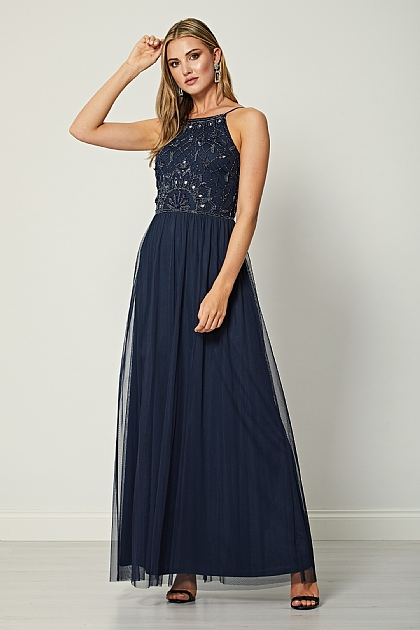 Navy Embellished Sequin Halterneck Maxi Dress