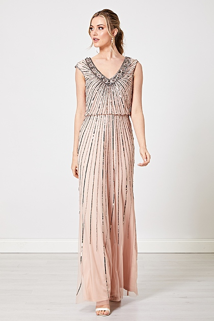 Nude V Neck Embellished Maxi Dress