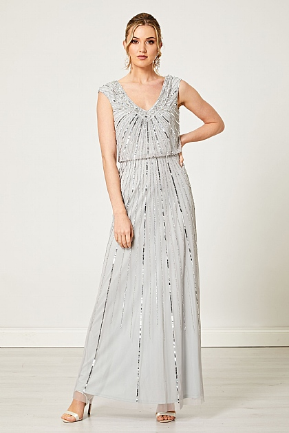 Light Blue Embellished Sequin Maxi Dress
