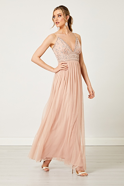 Embellished Cami Sequin Maxi Dress in Rose Pink