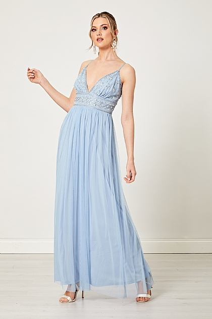 Bridesmaid Embellished Sequin Maxi Dress in Light Blue