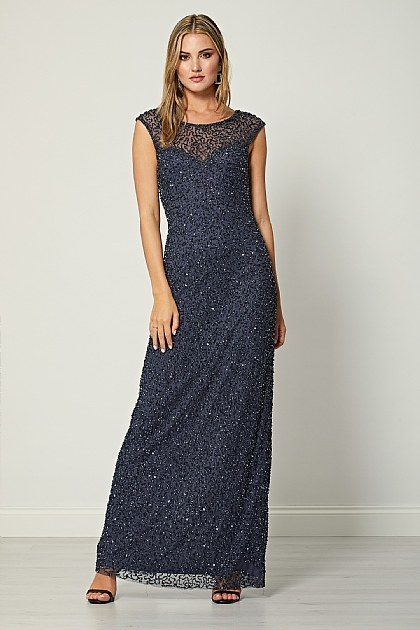 Navy Mesh Heart Neckline Maxi Dress
