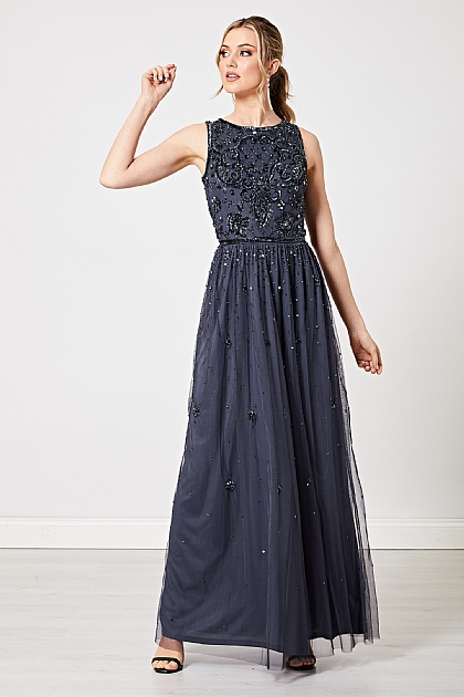 Navy Embellished Floral Sequin Maxi Dress