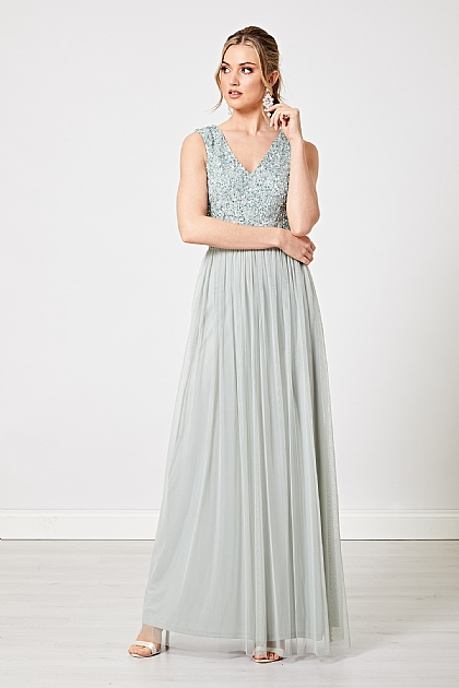 Mint Green Embellished V Neck Maxi Dress
