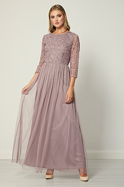 Lavender Embellished Sequin Long Sleeve Maxi Dress