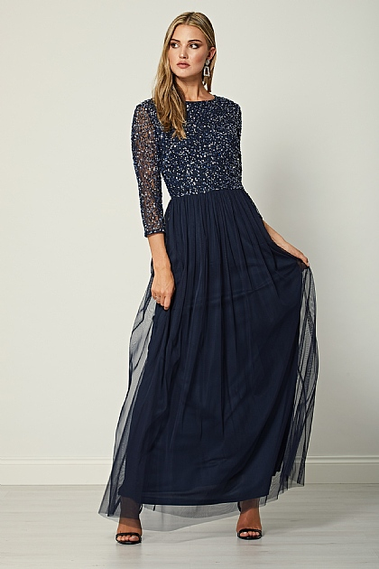 Navy Embellished Sequin Long Sleeve Maxi Dress