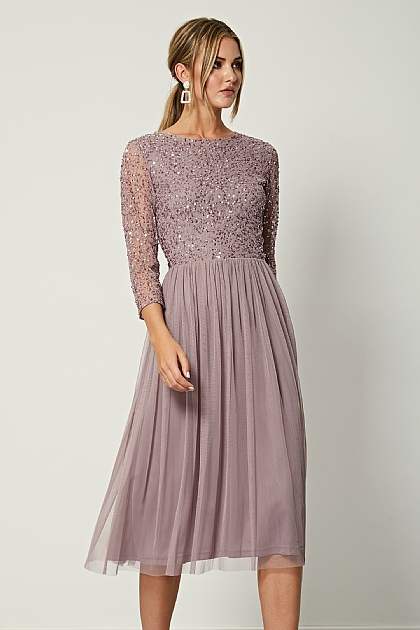 Lavender Mid Sleeve Embellished Sequin Midi Dress