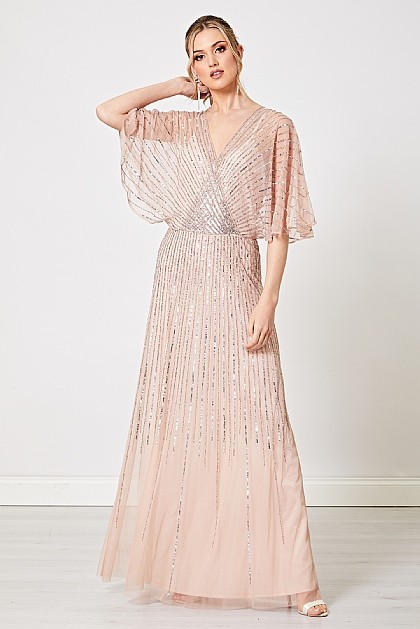 Blush Pink Embellished Flutter Sleeve Maxi Dress