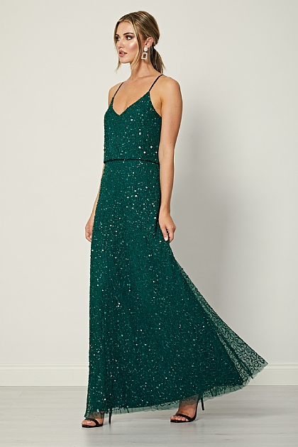 Emerald Green Sequin Embellished Maxi Dress