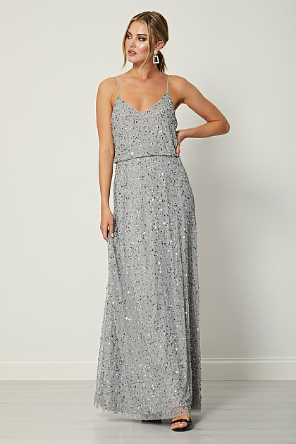 Silver Grey Sequin Embellished Maxi Dress