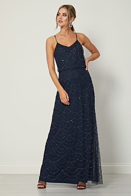 Navy Cami Sequin Beaded Maxi Dress