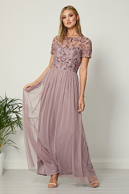 Lavender Short Sleeve Sequin Mesh Front Maxi Dress