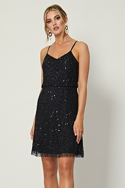 Black Cami Sequin Embellished Mini Dress
