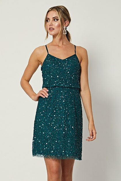Emerald Green Sequin Embellished Mini Dress