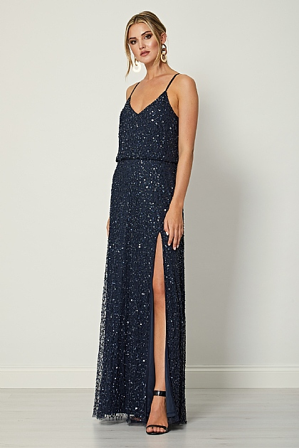 Navy Blue Sequin Embellished Maxi Dress