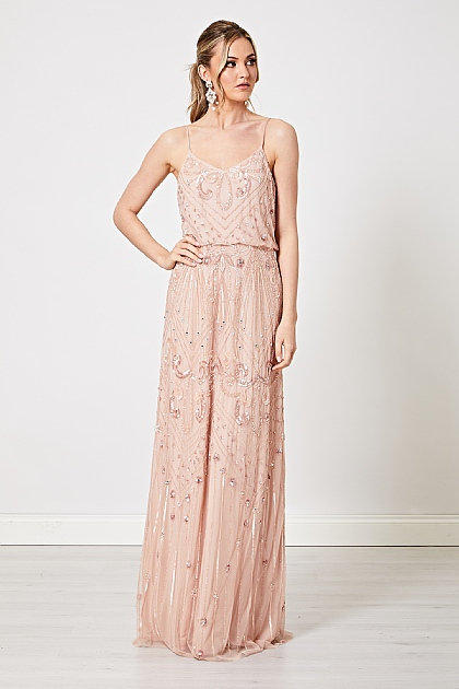 Light Pink Embellished Sequin Maxi Dress