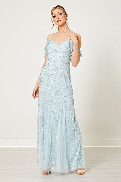 Light Blue Embellished Sequin Flutter Sleeve Maxi Dress