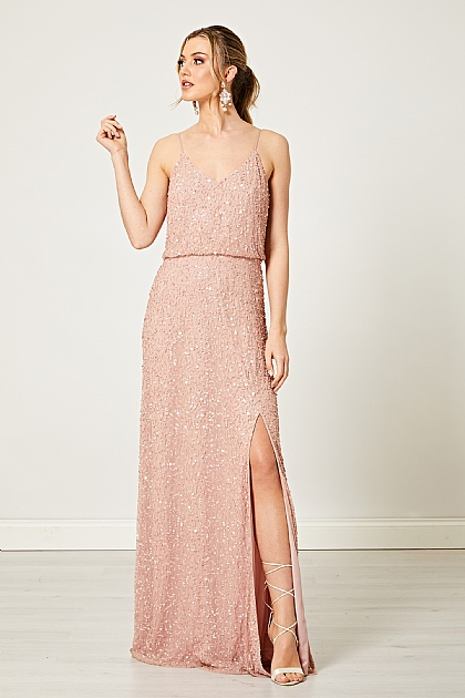 Scatter Embellished Sequin Maxi Dress in Light Pink