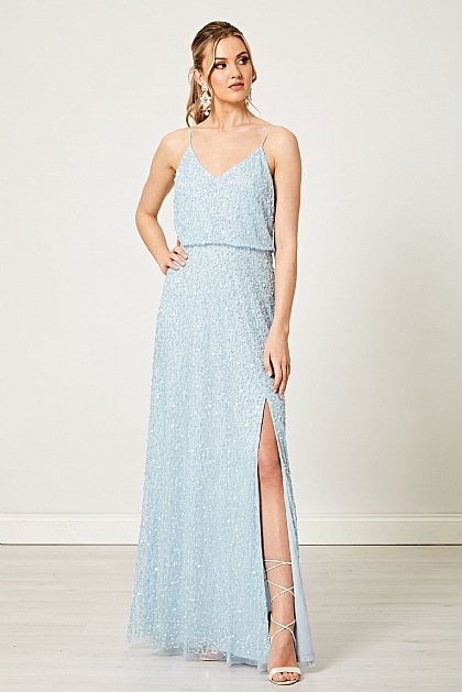Light Blue Scatter Embellished Sequin Maxi Dress