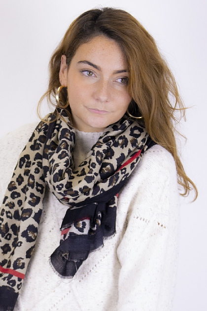 Animal Printed Leopard Scarf with Red detail