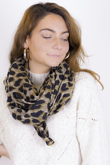 Animal Printed Leopard Scarf in Khaki
