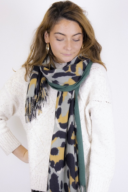 Animal Printed Blanket Scarf in Green and Sage