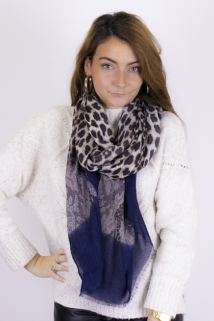 Animal Printed Leopard Snake Scarf in Navy