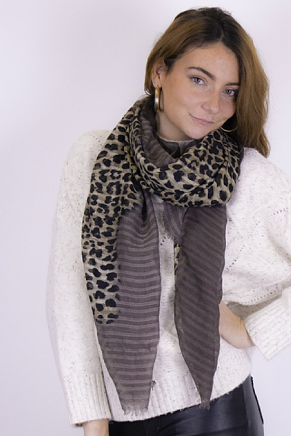 Animal Printed Leopard Striped Scarf in Brown