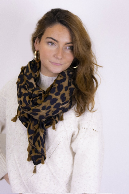 Pompom Animal Printed Scarf in Brown