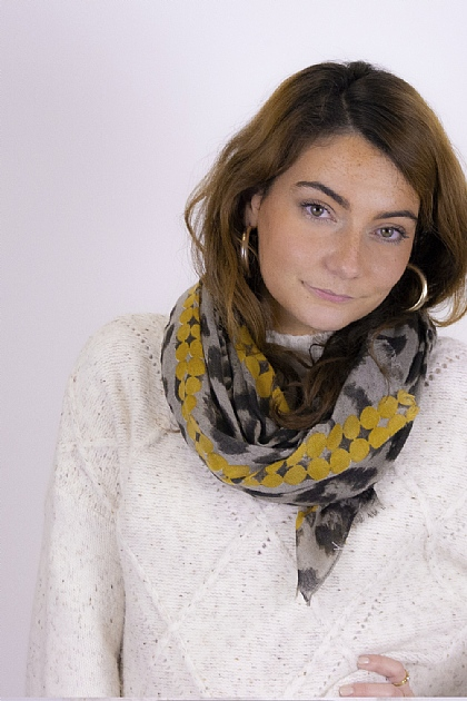 Animal Printed Scarf in Mustard