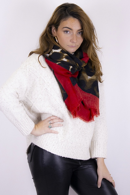 Animal Printed Leopard Scarf in Red