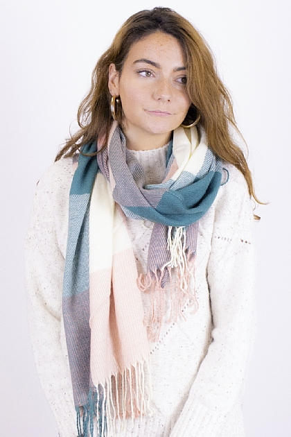Checked Tartan Blanket Scarf in Green Cream and Pink