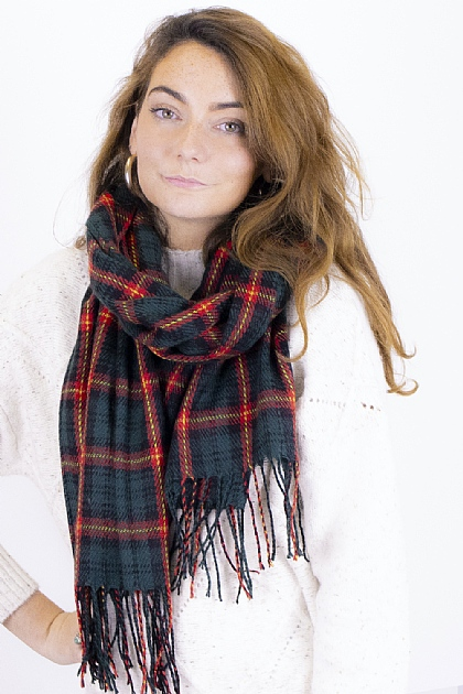 Checked Tartan Blanket Scarf in Green and Red