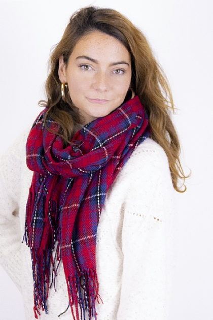 Checked Tartan Blanket Scarf in Red and Blue