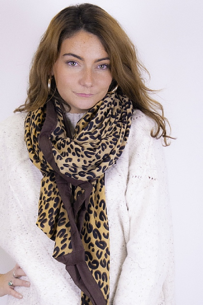Animal Printed Leopard Scarf in Brown