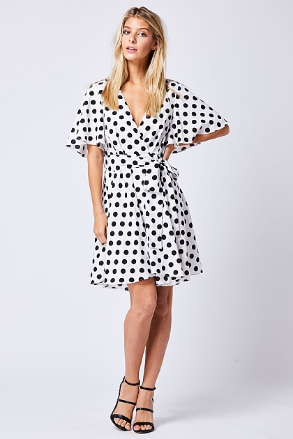 White Polka Dot Wrap Mini Dress